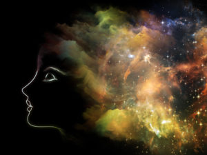 Universal Mind series. Backdrop of human head and fractal clouds to complement your design on the subject of mind, dreams, thinking, consciousness and imagination